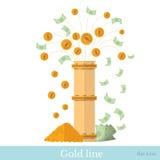 Vlakke fontein van muntstukken en rekeningen van pijpleiding Stock Foto