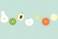 Vlakke Fruitachtergrond Vector illustratie Stock Foto's
