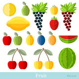 Vlakke fruitreeks Royalty-vrije Stock Afbeeldingen