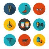 Vlakke gehandicapte pictogrammenmensen Royalty-vrije Stock Foto's