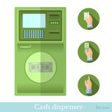 Vlakke geldautomaat met cirkelpictogram Stock Afbeelding