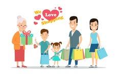 Vlakke Gelukkige ouders en kinderen met aankopen op karillustratie Zoon, dochter met moeder, vader en grootmoeder met vector illustratie