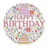 Vlakke gelukkige Verjaardags feestelijke achtergrond met geplaatste confettienpictogrammen Partij en vieringselementen: ballons,  Stock Foto
