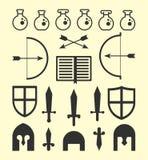 Vlakke Geometrische Fantasiepictogrammen Royalty-vrije Stock Foto