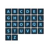 Vlakke geplaatste alfabettegels Donker kleurenthema Elke brief vector illustratie