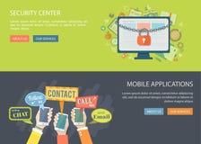 Vlakke geplaatste banners Illustraties van veiligheidscentrum en mobiele ap Stock Afbeeldingen