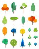 Vlakke geplaatste bomen vectorsymbolen Royalty-vrije Stock Afbeelding