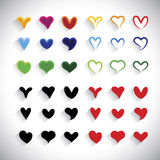 Vlakke geplaatste de pictogrammeninzameling van het ontwerp kleurrijke hart - grafische vector Stock Fotografie