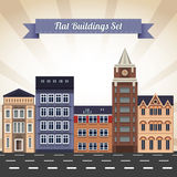 Vlakke geplaatste gebouwen Royalty-vrije Stock Foto
