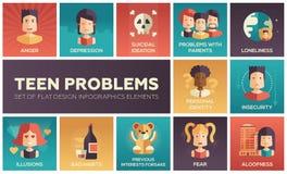 Vlakke geplaatste het ontwerppictogrammen van tienerproblemen royalty-vrije illustratie
