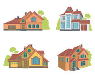 Vlakke geplaatste huizen Stock Afbeeldingen