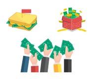 Vlakke geplaatste illustraties, en geld die geven delen Stock Foto's