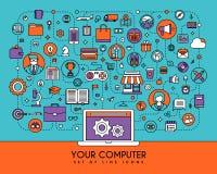 Vlakke geplaatste lijnpictogrammen Creatieve ontwerpelementen voor websites Stock Fotografie