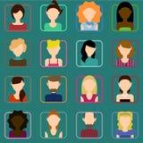 Vlakke geplaatste mensenpictogrammen Royalty-vrije Stock Afbeeldingen