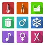 Vlakke geplaatste pictogrammen Royalty-vrije Stock Foto's