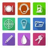 Vlakke geplaatste pictogrammen Royalty-vrije Stock Afbeeldingen