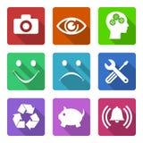 Vlakke geplaatste pictogrammen Stock Fotografie
