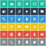 Vlakke geplaatste pictogrammen - basisinternet & mobiele geplaatste pictogrammen Royalty-vrije Stock Foto's