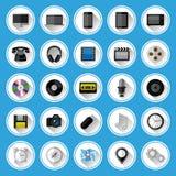 Vlakke geplaatste pictogrammen en pictogrammen Stock Foto