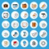 Vlakke geplaatste pictogrammen en pictogrammen Royalty-vrije Stock Foto