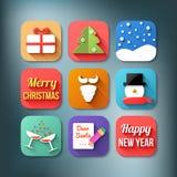 Vlakke geplaatste pictogrammen. Kerstmisthema Stock Foto's