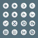 Vlakke geplaatste pictogrammen van het menuknopen van de stijl diverse navigatie Stock Foto's