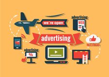 Vlakke geplaatste reclamepictogrammen Royalty-vrije Stock Afbeelding