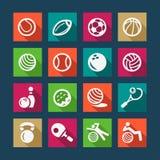 Vlakke geplaatste sporten en fitnes pictogrammen Stock Afbeeldingen