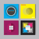 Vlakke Geplaatste stijl Abstracte kleurrijke Moeilijke vragen Art Graphic Backgrounds Retro Stock Foto's