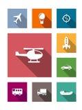 Vlakke geplaatste vervoerspictogrammen Royalty-vrije Stock Afbeeldingen