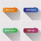Vlakke geplaatste Webknopen Royalty-vrije Stock Foto's