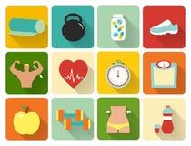 Vlakke gezonde het levenspictogrammen Stock Fotografie