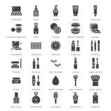 Vlakke glyphpictogrammen van de make-upschoonheidsverzorging Schoonheidsmiddelenillustraties van lippenstift, mascara, poeder, oo royalty-vrije illustratie