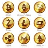 Vlakke gouden houten cryptocurrenciespictogrammen van zcash, streepje, tron, vector illustratie