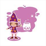 Vlakke Halloween-heks Royalty-vrije Stock Afbeeldingen