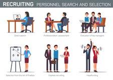 Vlakke het Aanwerven Personeelszoeken en Selectie royalty-vrije illustratie