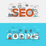 Vlakke het conceptenbanner Seo van de ontwerplijn en Codage royalty-vrije illustratie