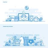 Vlakke het conceptenopstarten van de lijnkleur en Marketing Strategie vector illustratie