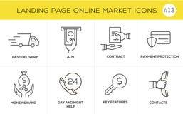 Vlakke het conceptenpictogrammen van het lijnontwerp voor online het winkelen, websitebanner en landende pagina Stock Fotografie