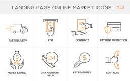 Vlakke het conceptenpictogrammen van het lijnontwerp voor online het winkelen, websitebanner en landende pagina Royalty-vrije Stock Afbeeldingen