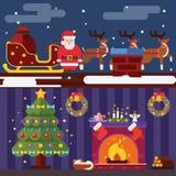 Vlakke het Landschap en de Zaal van het Ontwerpnieuwjaar van Kerstmistoebehoren van Situatiesymbolen van de de Pictogrammengroet  Royalty-vrije Stock Foto's