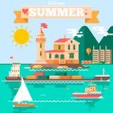 Vlakke het landschapsillustratie van de ontwerpaard met vuurtorensleepboten die boot, luchtballon varen De vakantie van de zomer Stock Afbeeldingen