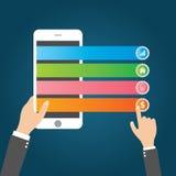 Vlakke het Malplaatje en het Webelementenzaken van Infographics, Computer, Marketing Concept Stock Afbeeldingen