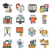 Vlakke het onderwijspersoneel van ontwerppictogrammen online opleidingsboekhandel verre het leren kennis vectorillustratie Stock Foto