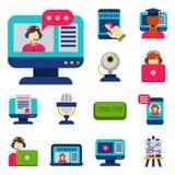 Vlakke het onderwijspersoneel van ontwerppictogrammen online opleidingsboekhandel verre het leren kennis vectorillustratie Royalty-vrije Stock Afbeeldingen