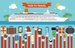 Vlakke het ontwerp van de nieuwjaarreis Vakantiecruise vector illustratie