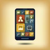 Vlakke het ontwerppictogrammen van Smartphone Royalty-vrije Illustratie