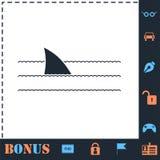 Vlakke het pictogram van de haaivin vector illustratie