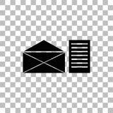 Vlakke het pictogram van de postbrief stock illustratie