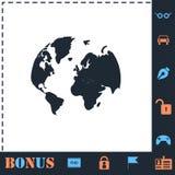 Vlakke het pictogram van de wereldkaart stock illustratie